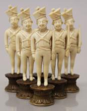 A GOOD GROUP OF SIX 18TH CENTURY INDIAN IVORY CHESS PIECES, each carved in