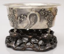 A GOOD LATE 19TH CENTURY CHINESE SILVER BOWL BY WOSHING OF SHANGHAI, the bo