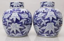 A GOOD PAIR OF 19TH CENTURY CHINESE BLUE & WHITE PORCELAIN JARS & COVERS, e