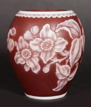 A SMALL WEBBS CAMEO PINK VASE with flowers in cameo. <br>2.75ins high.