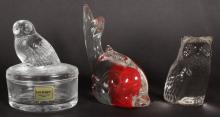 A GLASS DOLPHIN, OWL, OWL on a box and a pear (4).
