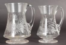 TWO FINE VICTORIAN TANKARDS etched with flowers and butterflies.