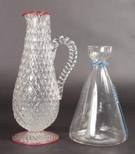 A POWELL CARAFE with blue moulding and a diamond moulded jug (2).