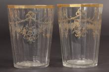 A PAIR OF GEORGIAN TUMBLERS with gilt decoration.