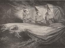 """Henry Fuseli (1741-1825) Swiss. """"The Three Witches"""", Print, Unframed, 6"""" x 7.75"""", together with a collection of prints by various hands, (Q)."""