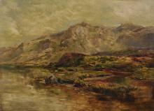 Sidney Richard Percy (1821-1886) British. A Highland Landscape, with a Loch, Oil on Canvas, Signed, Unframed, 14 x 20 .
