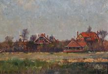 James Levin Henry (1855-1929) British. Houses in a Landscape, Oil on Canvas, Signed and Indistinctly Dated, 11 x 15.5 .