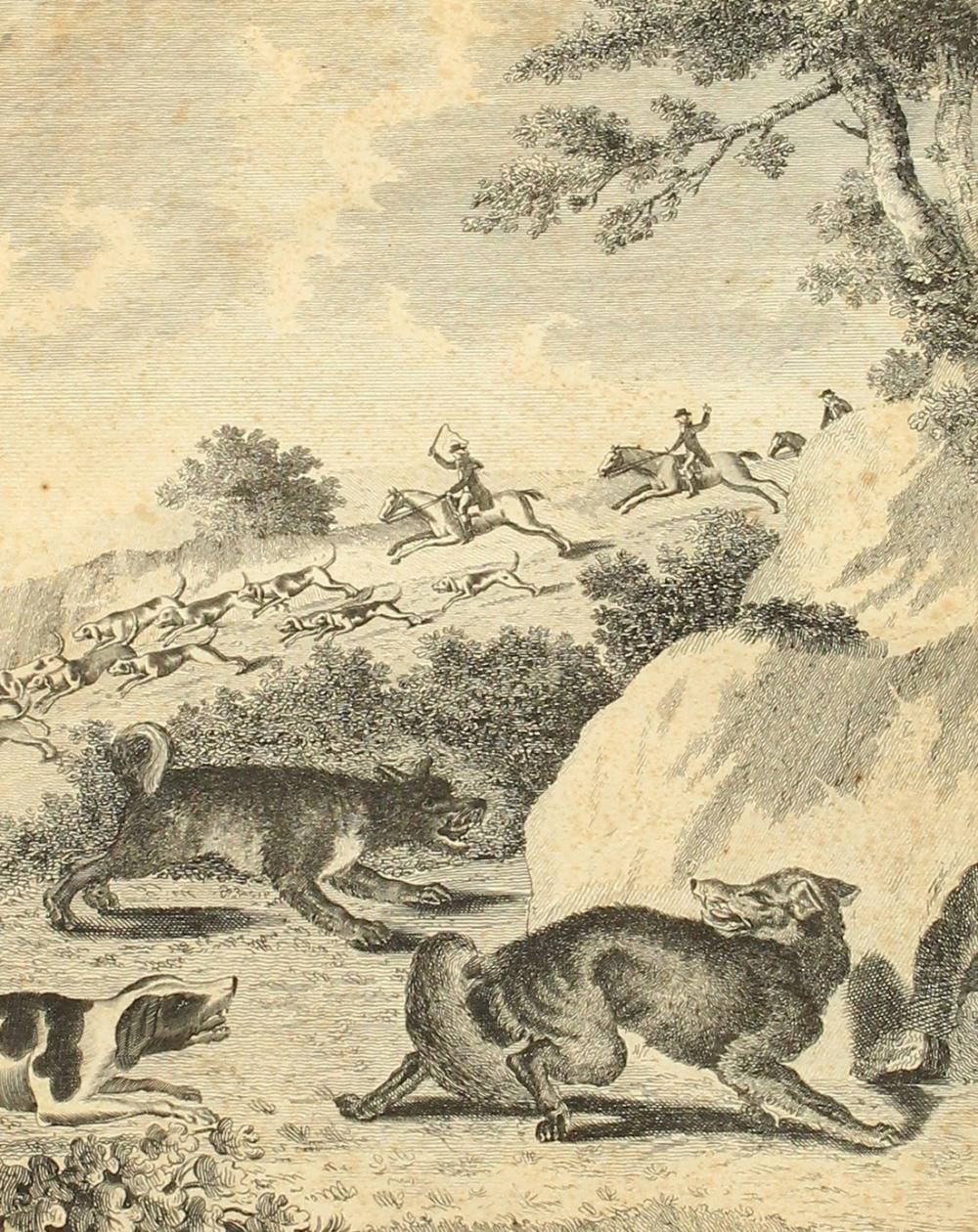 Prattent after Dodd, 'Fox Hunting, the Earth Stopped', 18th Century etching, signed in ink in the top right-ha