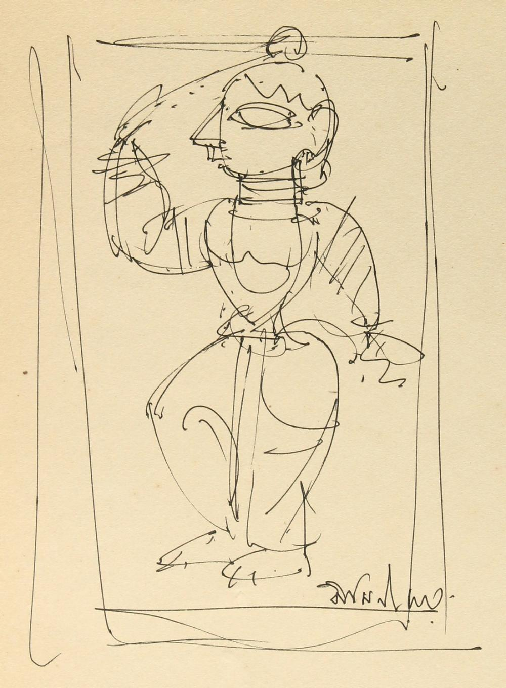 """Jamini Roy (1887-1972) India, an ink sketch of a stylised figure, signed, 8"""" x 6"""", (unframed)."""
