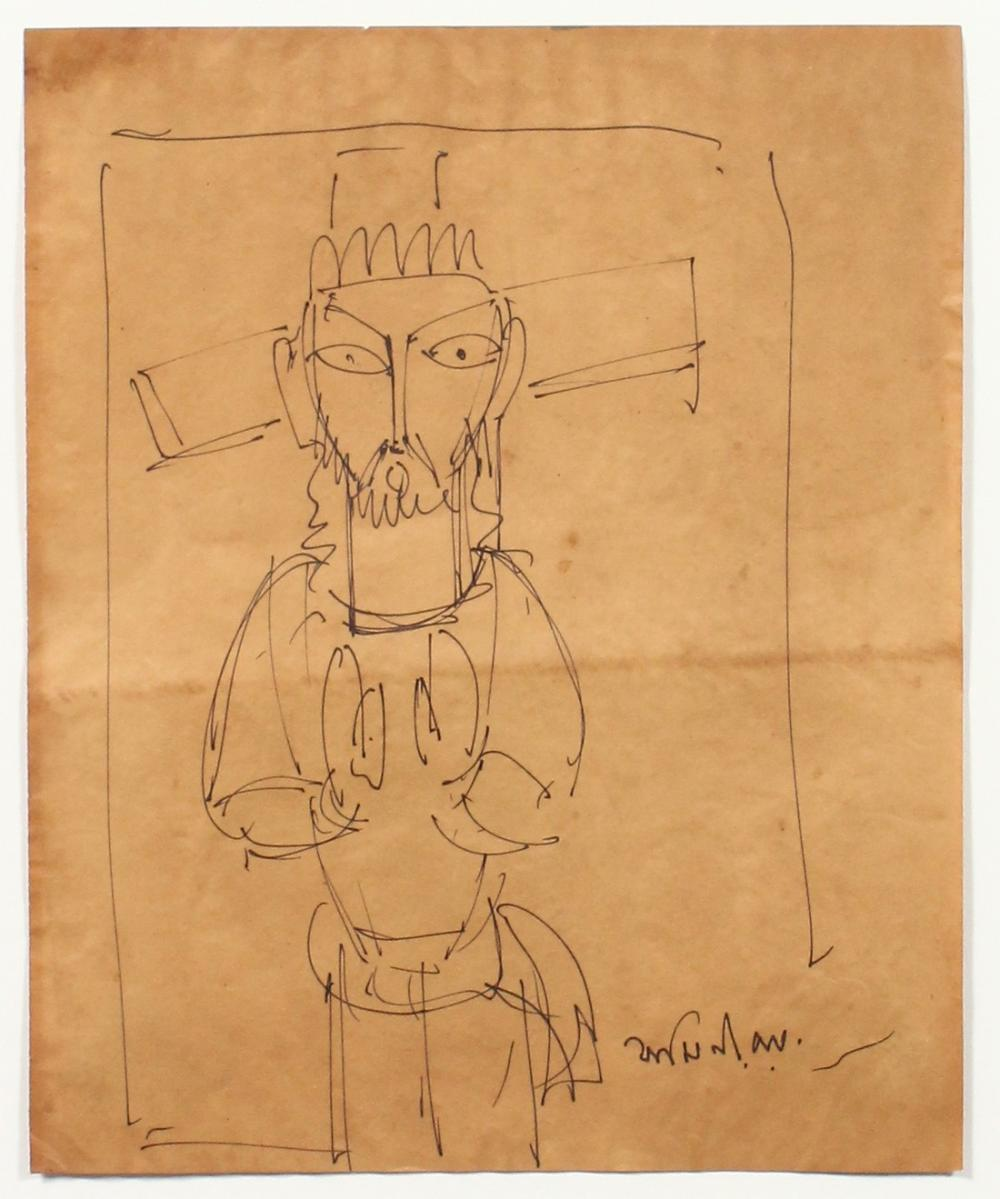 """Jamini Roy (1887-1972) India, a stylised ink sketch of Christ, signed, 10"""" x 8.75""""."""