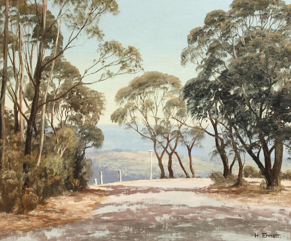 Harry Emmett, 'Narrow Neck Lookout', New South Wales, Australia, oil on canvas board, signed and inscribed on