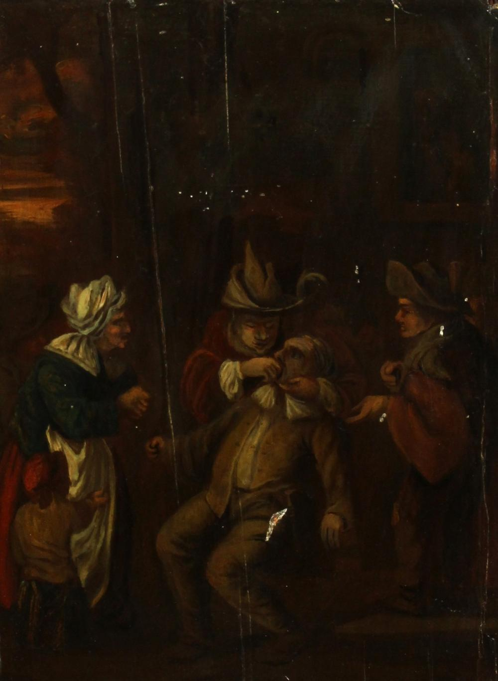 """18th Century Continental School, A scene of a man having a tooth pulled, oil on panel, 18"""" x 13""""."""