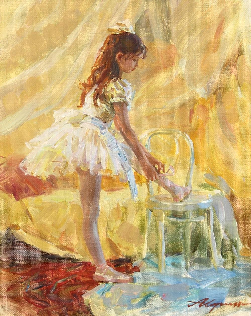 """Alexander Averin (b.1953) Russian, 'Tying My Shoe', oil on canvas, 10.5"""" x 8.5"""", 27x22cm"""