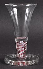 A GEORGIAN MASONIC GLASS with white and red twist