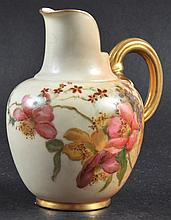 A ROYAL WORCESTER GLOBULAR FLAT BACK JUG painted