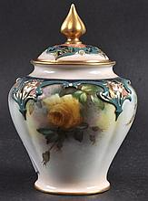 A ROYAL WORCESTER HADLEY WARE VASE AND COVER