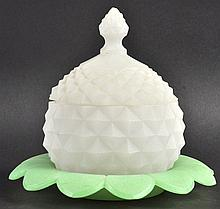 A GOOD OPALINE GLASS PINEAPPLE CIRCULAR BOWL AND