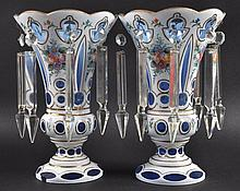 A PAIR OF LUSTRES with enamel decoration and prism