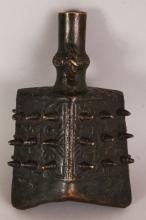 ANOTHER SMALLER EARLY 20TH CENTURY CHINESE SHANG STYLE BRONZE BELL, also cast with archaic patterns and with studs in high relief, 4.9in wide at widest point & 7.9in high.