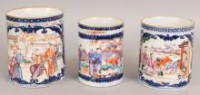 A GRADUATED SET OF THREE 18TH CENTURY CHINESE QIANLONG PERIOD UNDERGLAZE BLUE & FAMILLE ROSE MANDARIN PORCELAIN TANKARDS, all lacking handles, the largest 4.1in diameter at rim & 5.1in high. (3)