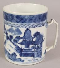 A 19TH CENTURY CHINESE CANTON BLUE & WHITE PORCELAIN TANKARD, painted with a river landscape scene, 3.6in diameter at base & 4.6in high.