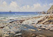 """John Ernest Aitken (1881-1957) British. A Beach Scene, with a Beached Small Boat, Watercolour, Signed, 9.25"""" x 13.25""""."""