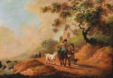 Attributed to Sidney Percy Williams (Sidney Richard Percy) (1821-1886) British. A Country Landscape, with Figures and a Laden Donkey, with a Dog and a Goat, Oil on MetaL