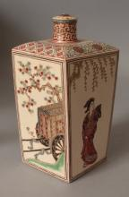 AN UNUSUAL 19TH CENTURY JAPANESE SATSUMA EARTHENWARE TOKKURI & COVER, the square section sake flask painted to the sides in good detail with alternating panels of a bijin and of a court carriage, the base unglazed, 3.3in square at shoulders & 7in high overall.
