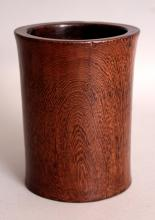 A GOOD QUALITY CHINESE HARDWOOD BRUSHPOT, the waisted body with a good grain, 4.2in diameter at rim & 5.3in high.