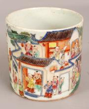 A GOOD QUALITY CHINESE FAMILLE ROSE PORCELAIN BRUSHPOT, decorated with a continuous scene of a children's procession, the base unglazed, 4.2in diameter at rim & 4in high.