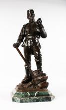 Metallobjekte Bronze Figur Stahlarbeiter Friedrich Reusch Königsberg 39 Cm Wmf Geislingen