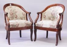A GOOD PAIR OF EMPIRE ROSEWOOD TUB ARMCHAIRS, CIRCA. 1840, with padded back and seats. <br>Signed JEANSELME.