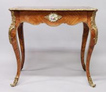 A GOOD SMALL 19TH CENTURY FRENCH LOUIS XVI DESIGN BUREAU PLAT, the top crossbanded and inset with a leather writing panel, the front fitted with a long frieze drawer, Sevres porcelain panels to the front and sides, and supported on curving legs. <br>2ft 9ins long, 4ft 7ins wide, 2ft 6ins high.