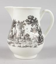 AN 18TH CENTURY WORCESTER SPARROW BEAK JUG, each side with a rare classical ruin, printed by Robert Hancock, damaged but displays well, 3.25ins tall.