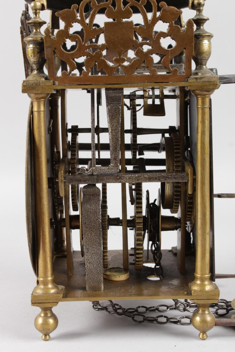 A Brass Lantern Clock By Giles Lumbard Ilminster 14ins Hig