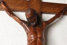 A LARGE ITALIAN CARVED WOOD CRUCIFIX. <br>Christ figure 27ins long.