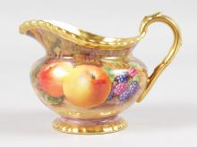 A ROYAL WORCESTER FRUIT PAINTED GADROON BORDERED CREAM JUG, signed by M. Tandy, black mark.