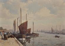 "John Ernest Aitken (1881-1957) British. Herring Boats, Yarmouth, Watercolour, Signed, 10"" x 14""."