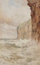 "Arthur Suker (1857-1902) British. A North Jersey Coastal Landscape, Watercolour, Signed with Monogram, 9.5"" x 6""."