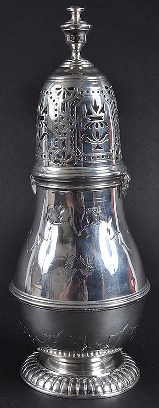 A LARGE QUEEN ANNE PATTERN SUGAR SIFTER. 9ins