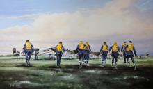 Terrence Brind (20th - 21st Century) British. 'Eagle Squadron Scramble', Lithograph, Signed and numbered 107/825 in Pencil, Unframed, overall 17.5