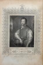 18th Century English School. Portrait of Sir Francis Drake, Engraving, in a Maple Frame, overall 10.25