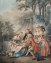 After Jean-Baptiste Huet (1745-1811) French. 'Le Dejeune', Aquatint by Bonnet, 9.5