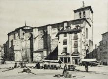 Keith Murray (20th Century) British. An Italian Street Scene, with Figures in the foreground, Etching, Signed in Pencil, 9