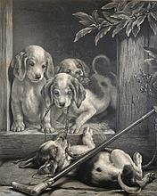 Samuel Henry Carter (1835-1892) British. Puppies Playing with a Fox Hunting Whip, Engraving, Signed in Pencil, 23