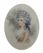 After John Downman (1750-1824) British. Portrait of a Lady, Engraving, Oval, 11