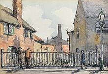 Juliet Pannett (1911-2005) British. 'Old Bridge in High Street, Honiton, Devon', Print, Inscribed on a label on the reverse, 9.25