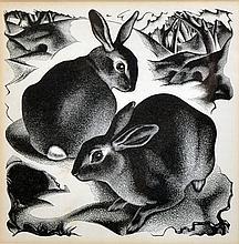 Agnes Miller Parker (1895-1980) British. 'Rabbits', Woodcut, 5.25