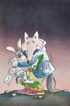 Tony Ruts (20th Century) British. A Cartoon of Animals Hugging, Lithograph, Signed, 9