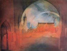 20th Century English School. A View of a Church, through an archway, Lithograph, Indistinctly Signed and numbered 69/450 in Pencil, 15.75